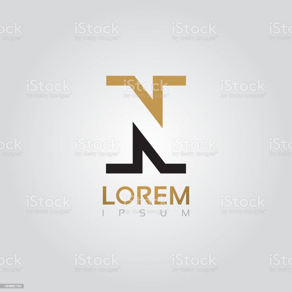 Vector graphic elegant silhouette alphabet symbol in two colors vector art illustration