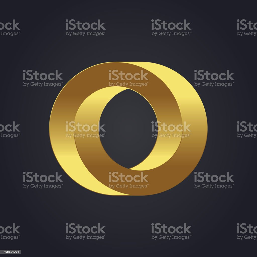 Vector graphic gold alphabet / impossible letter symbol / Letter vector art illustration