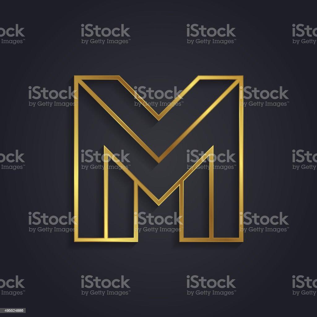 Vector graphic gold alphabet / impossible letter symbol / Letter vector art illustration