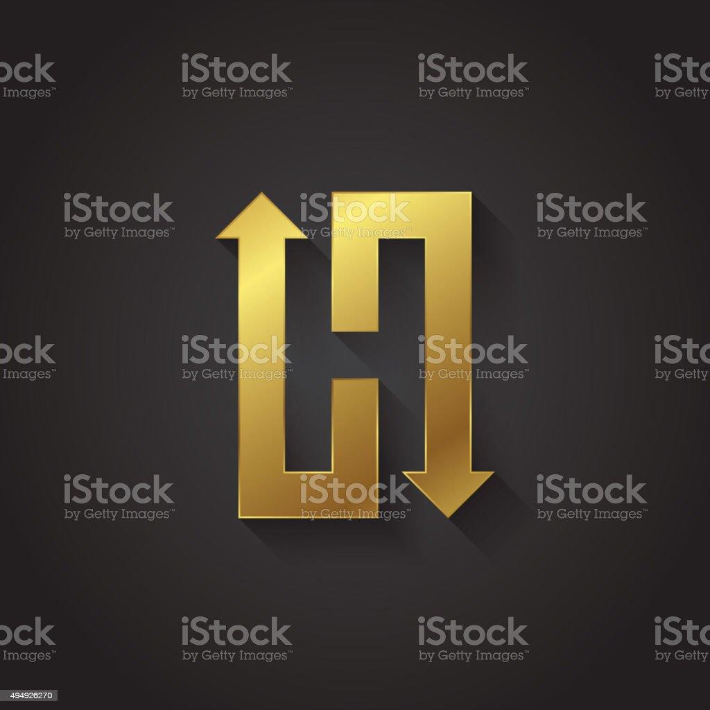Vector graphic gold arrow alphabet letter symbol / Letter H vector art illustration
