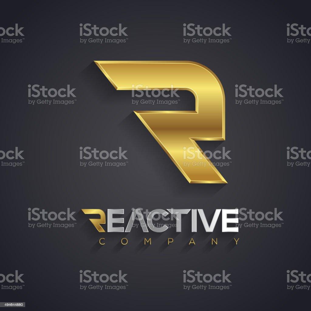 Vector graphic golden and silver R letter symbol vector art illustration