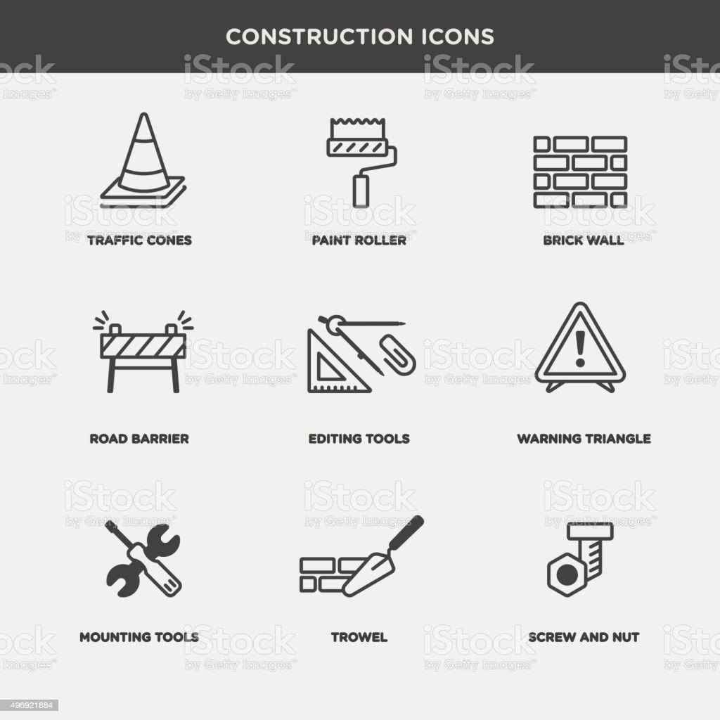 Vector graphic icon set of construction vector art illustration