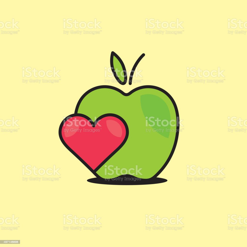 Vector graphic illustration of an apple with a heart vector art illustration