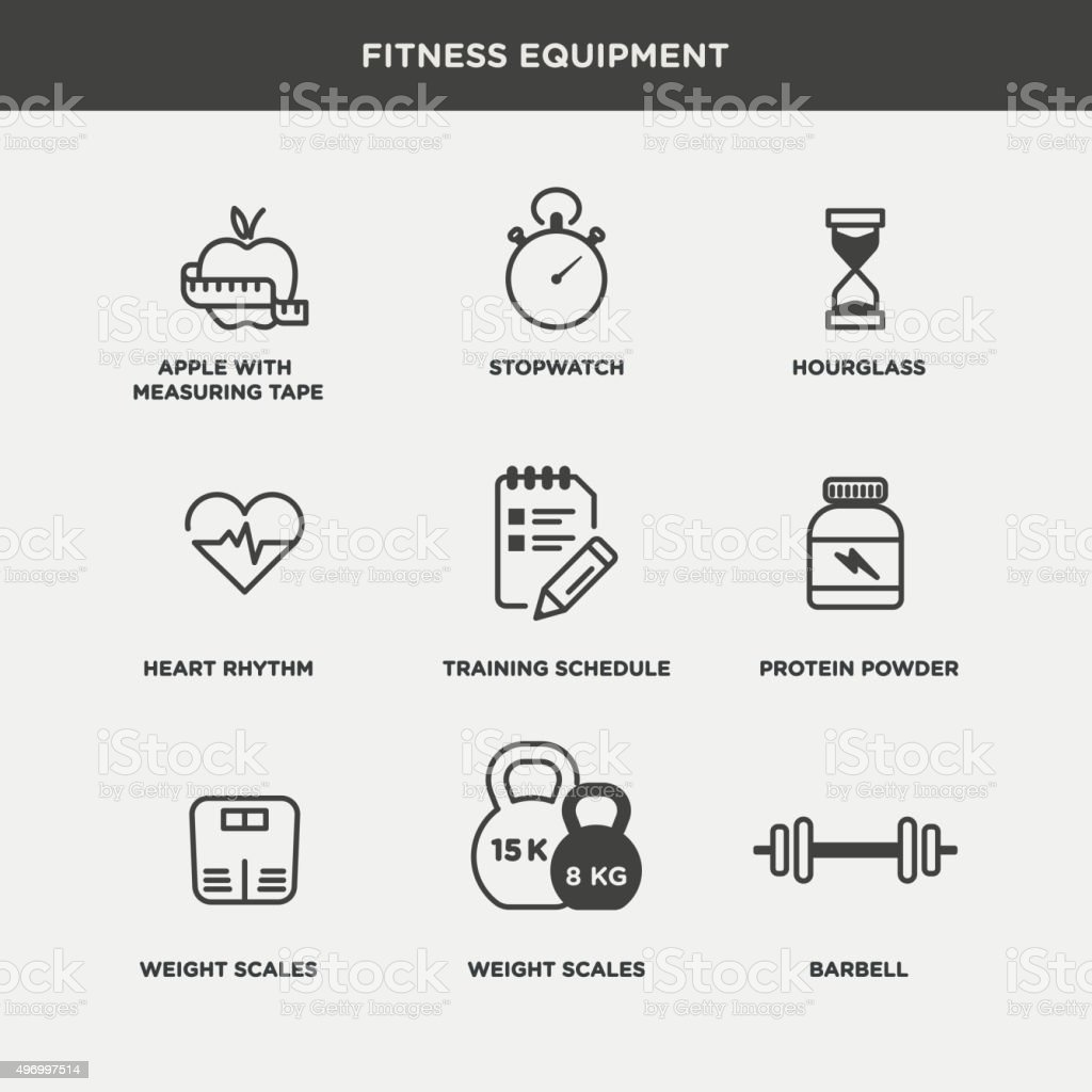 Vector graphic lifestyle, gym and excersice icon pack vector art illustration