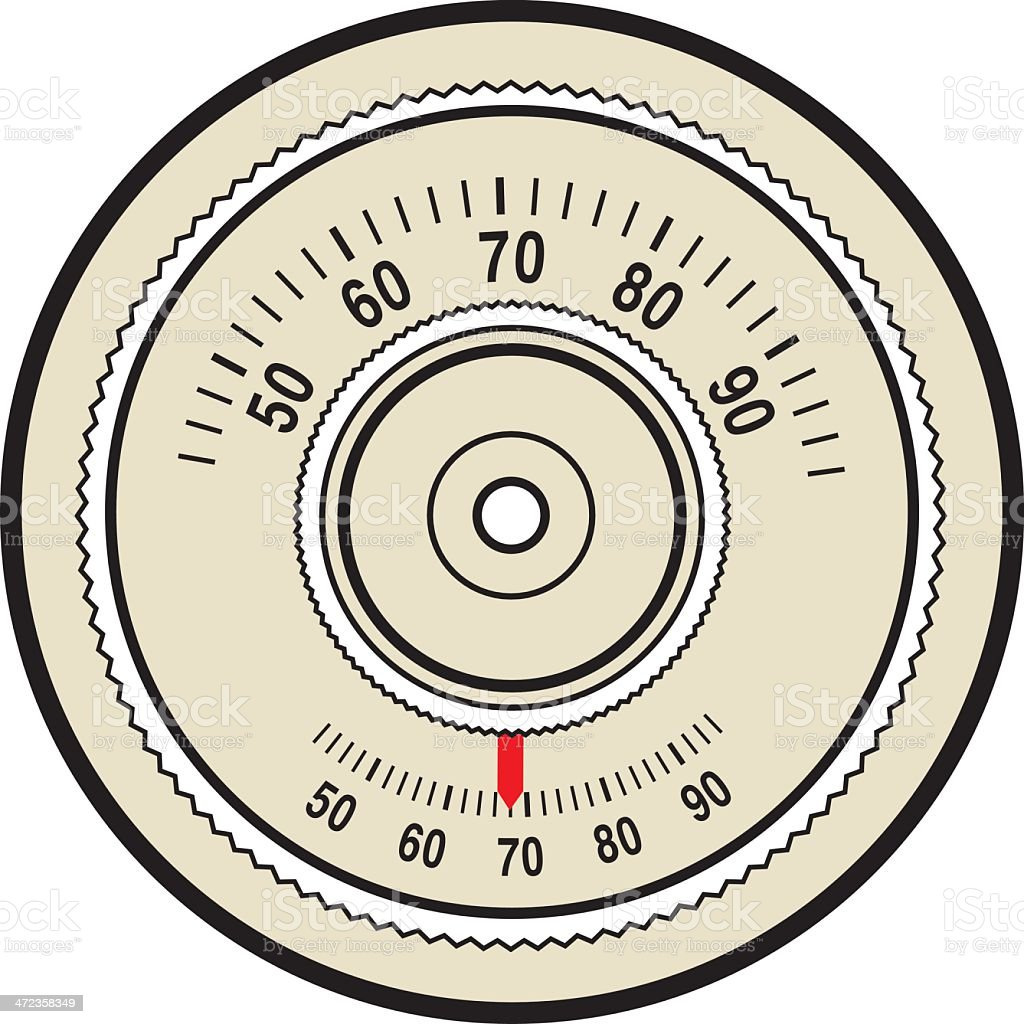 Vector graphic of a retro thermostat control dial royalty-free stock vector art