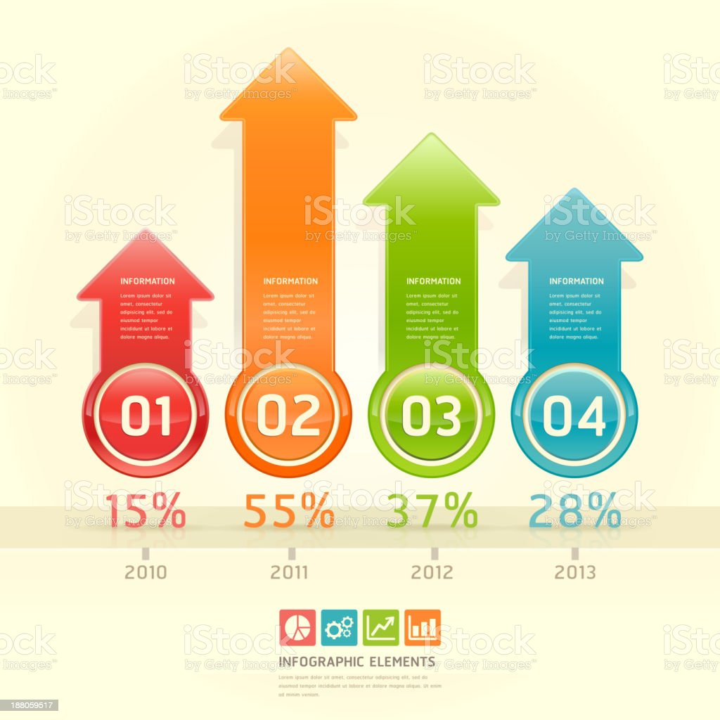 Vector graphic of an infographic of colored arrows royalty-free stock vector art