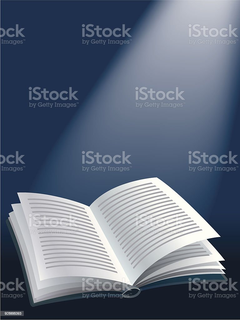 Vector graphic of an open book on a blue background royalty-free stock vector art