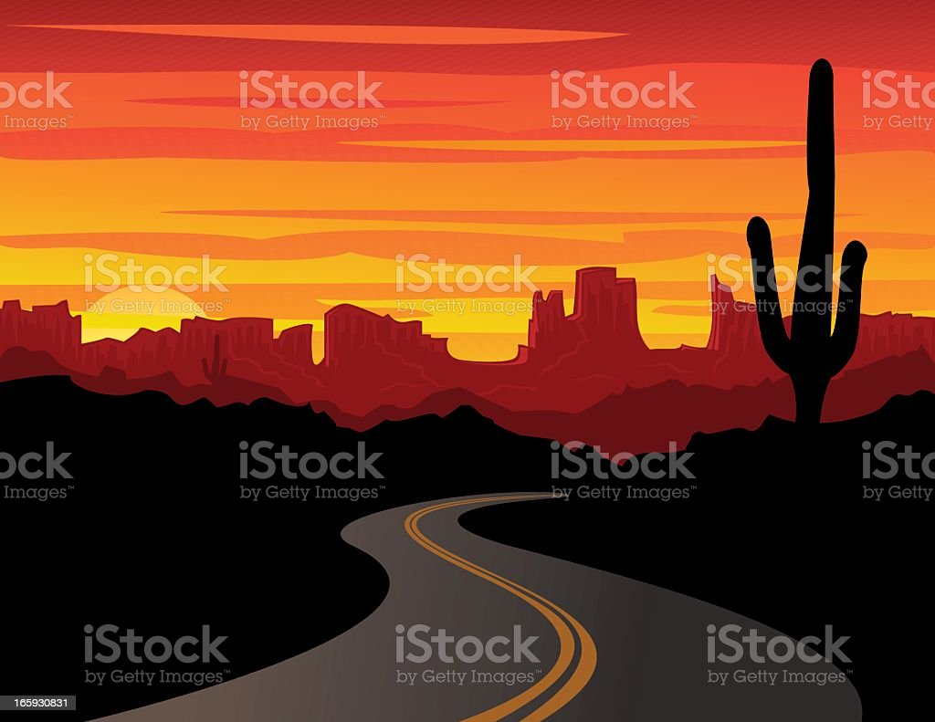 Vector graphic of bold desert sunset with silhouette cactus vector art illustration