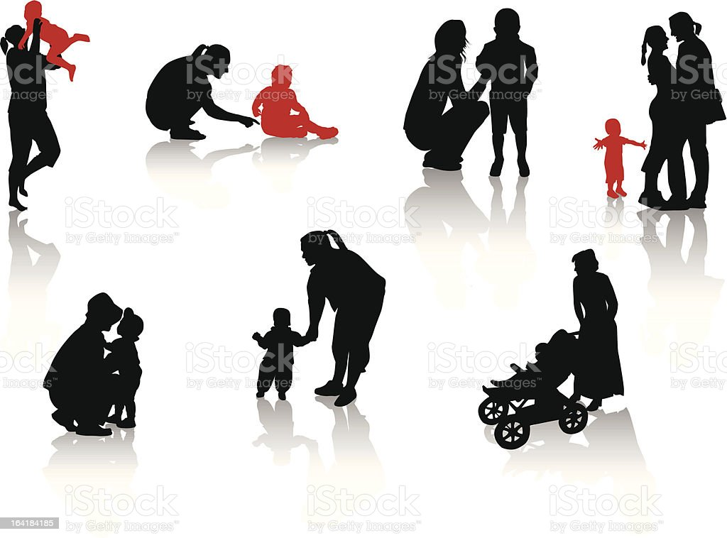 Vector graphic of children and parents royalty-free stock vector art