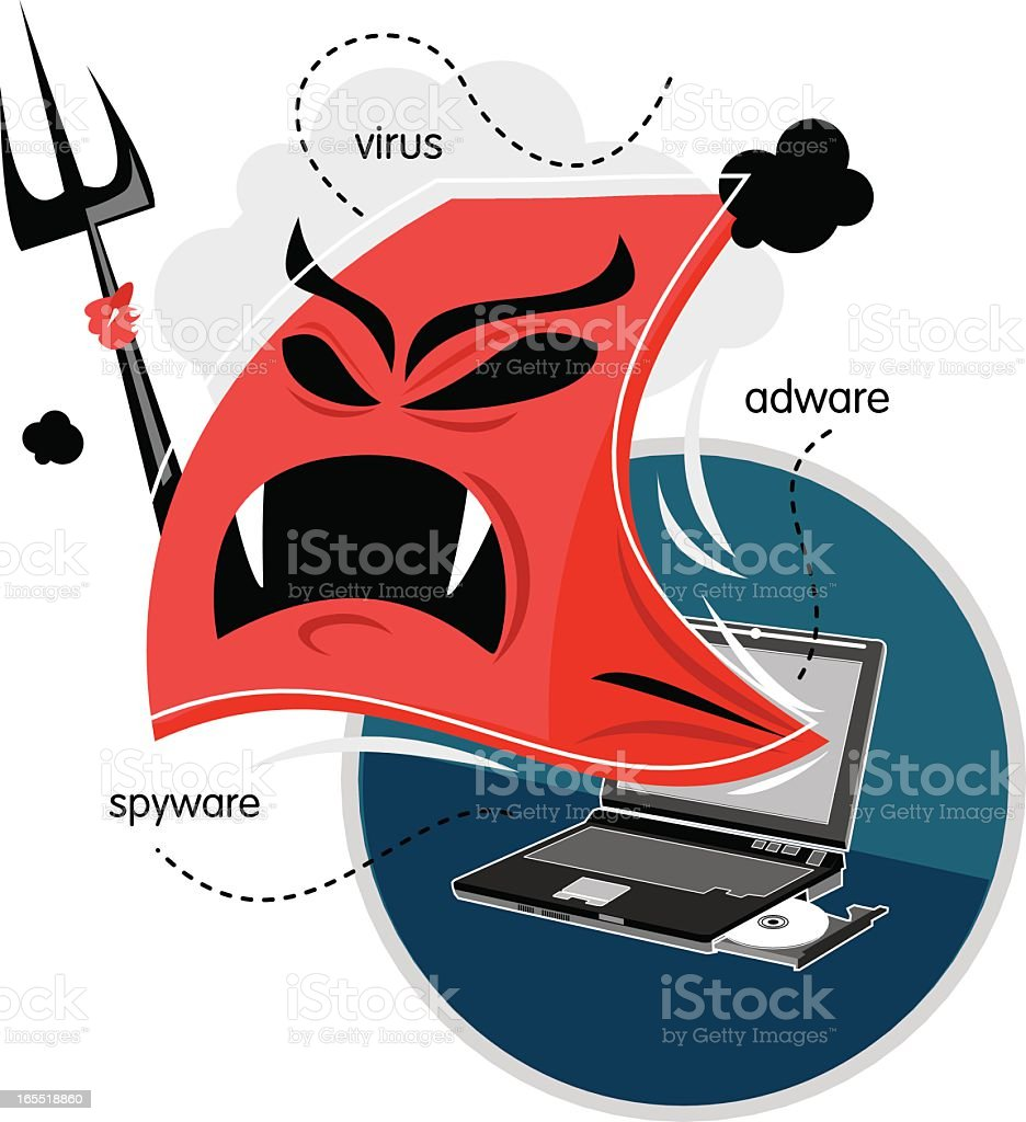 Vector graphic of computer virus attacking a laptop royalty-free stock vector art