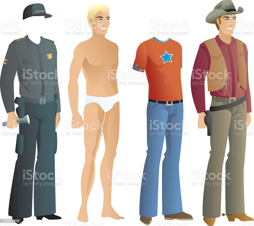Vector graphic of men's clothing including a cowboy outfit vector art illustration