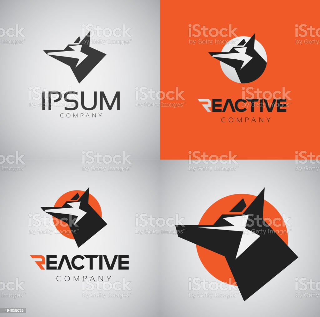 Vector graphic Reactive typography symbol with dog heads vector art illustration