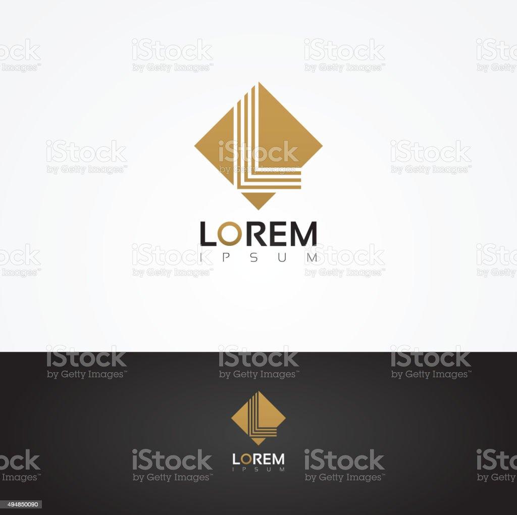 Vector graphic square alphabet symbol with striped letter - L vector art illustration