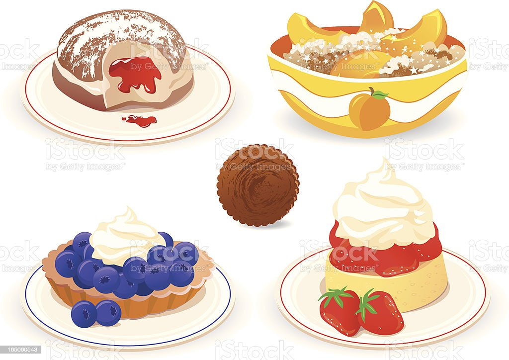 5 vector graphics of cakes and desserts on white vector art illustration
