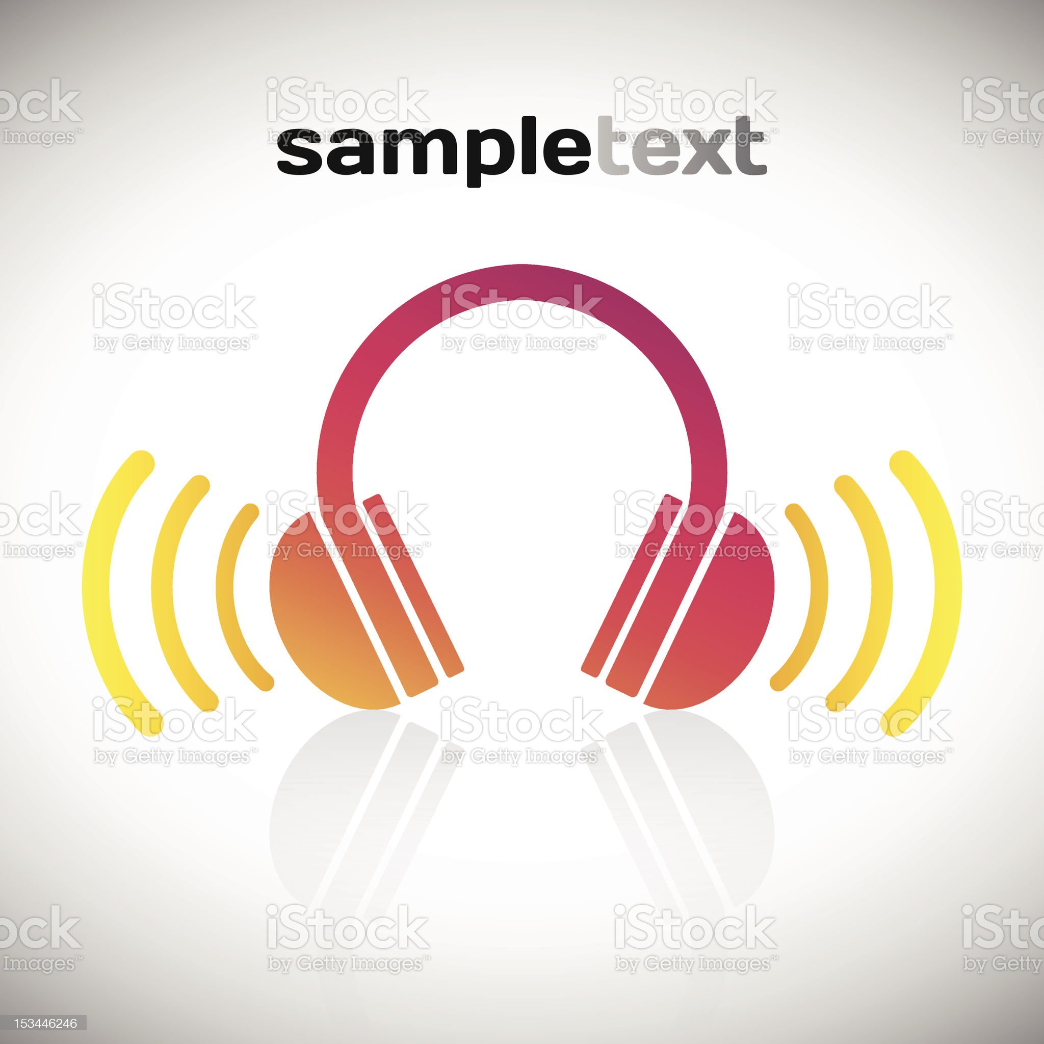 Vector graphics of headphones and sound waves royalty-free stock vector art