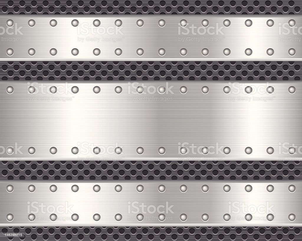 Vector graphics of horizontal metal textures, holes & rivets royalty-free stock vector art