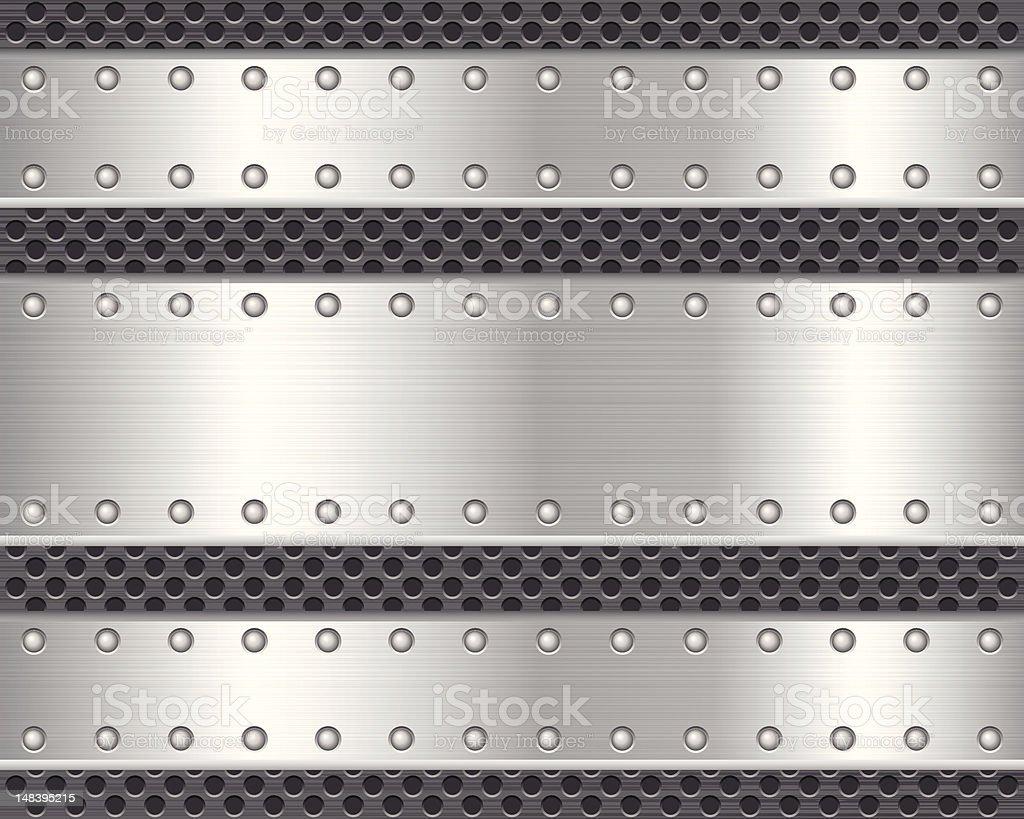 Vector graphics of horizontal metal textures, holes & rivets vector art illustration