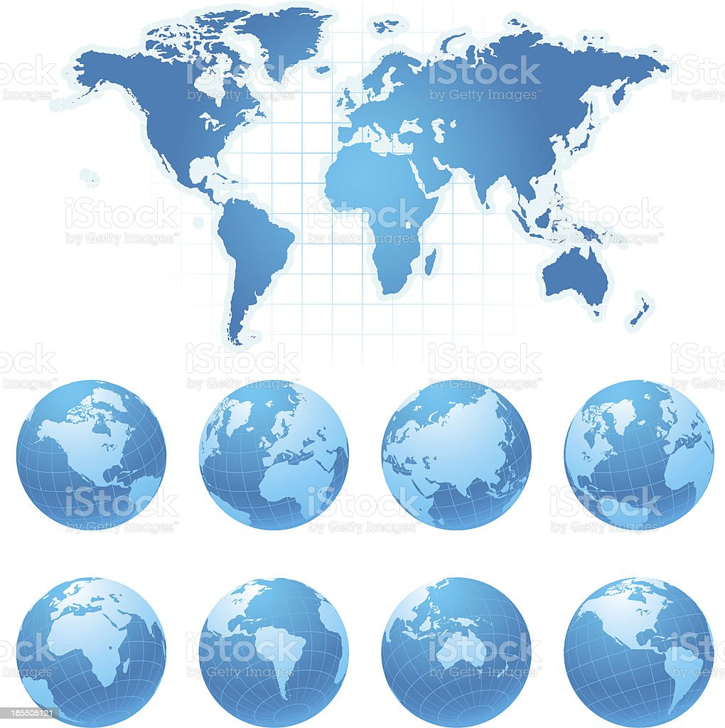 Vector graphics of the world lying flat and as a globe vector art illustration