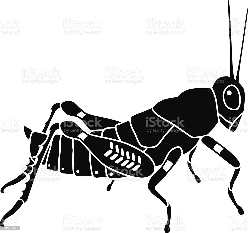 vector grasshopper side view in black and white vector art illustration