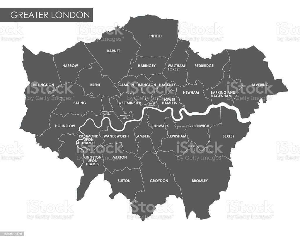 Vector Greater London administrative map vector art illustration