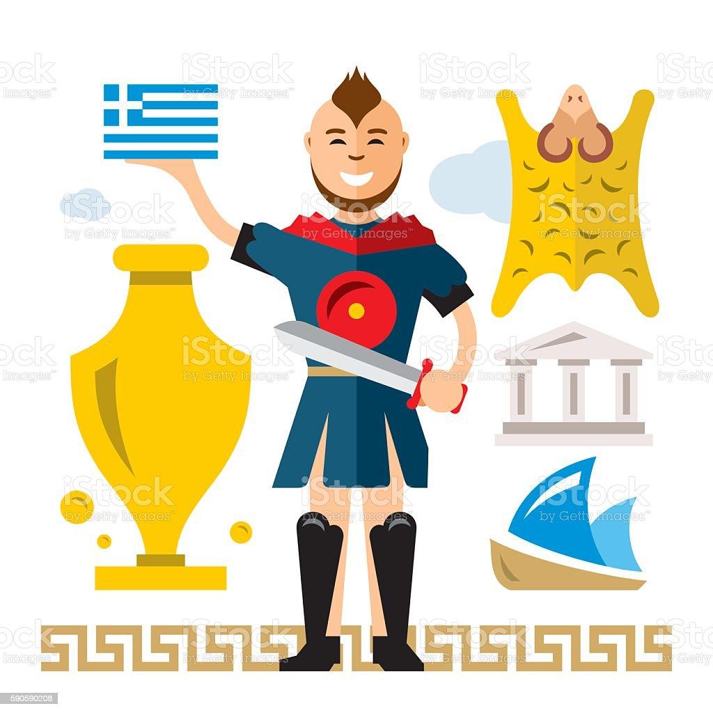 Vector Greece Concept. Flat style colorful Cartoon illustration. vector art illustration