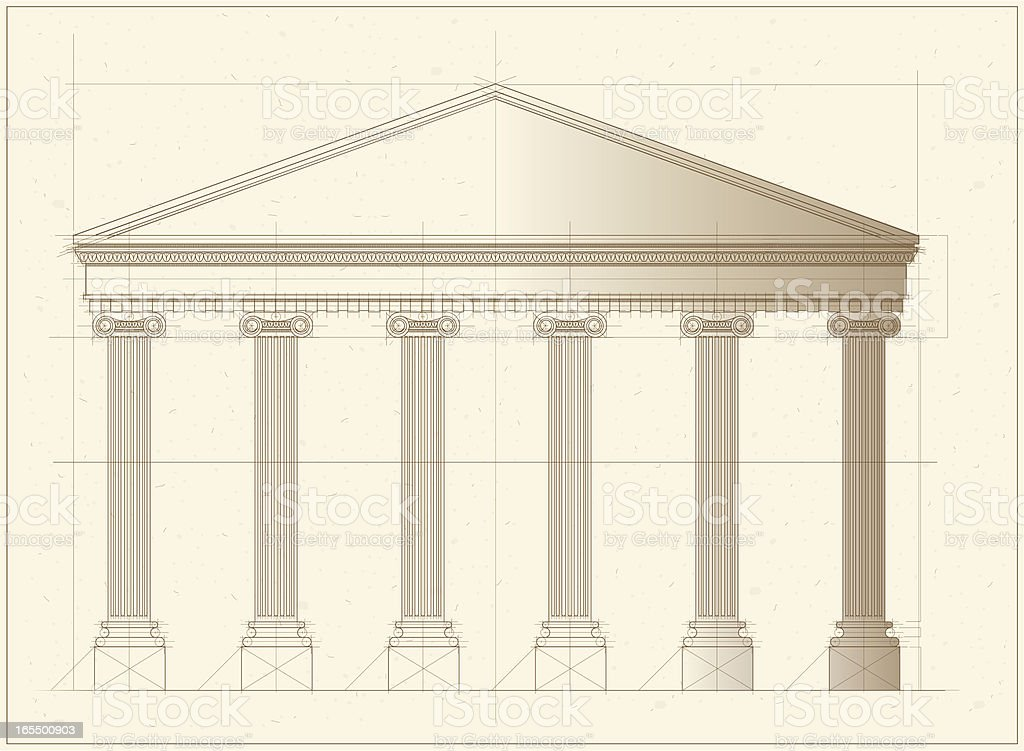 Vector Greek Building Front vector art illustration