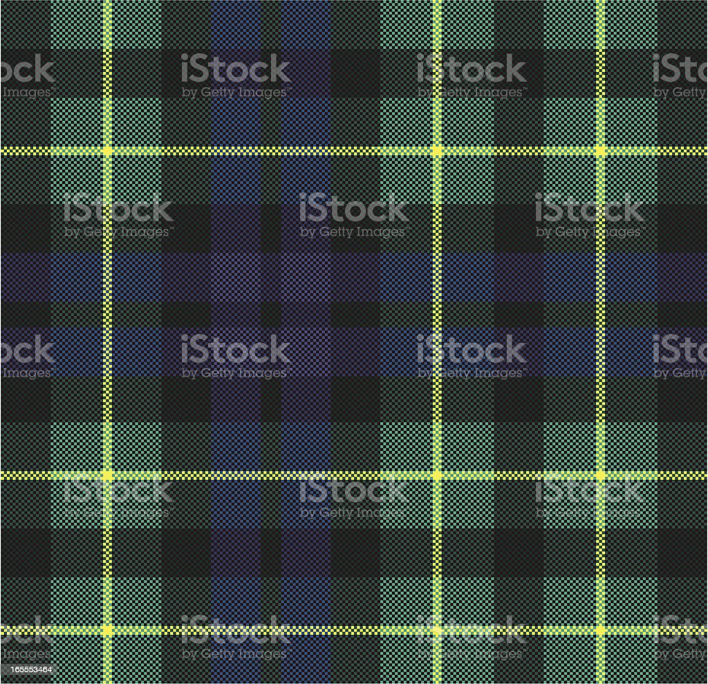 Vector Green and Blue Plaid Fabric vector art illustration