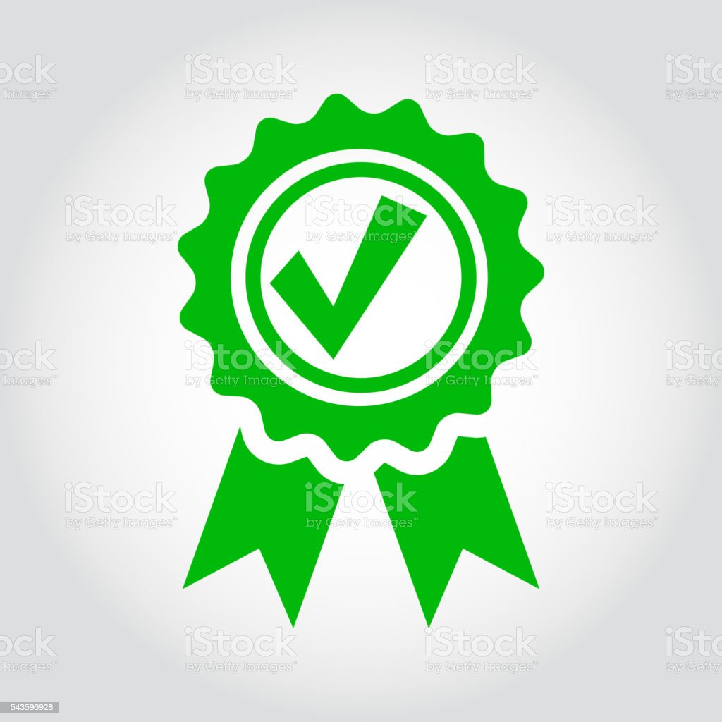 Vector green approved certificate icon vector art illustration