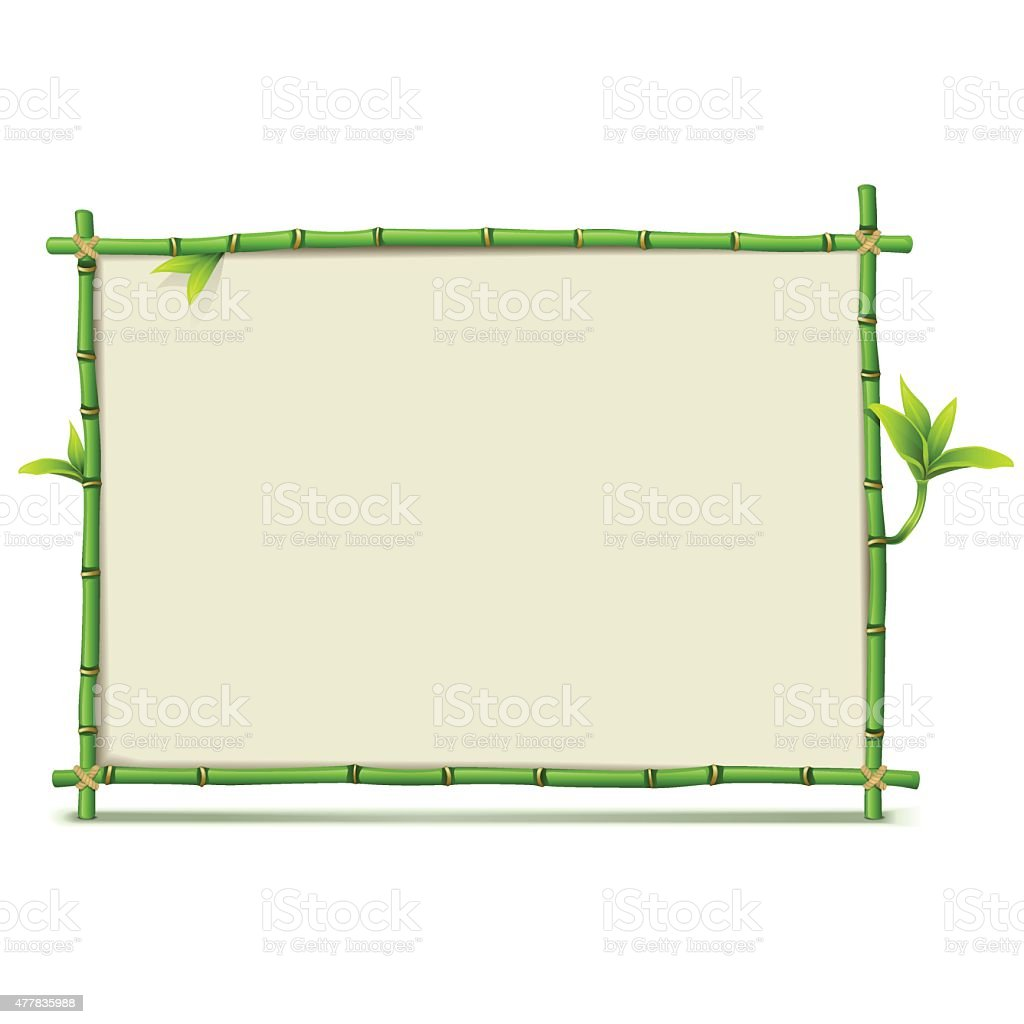 Vector Green Bamboo Frame vector art illustration
