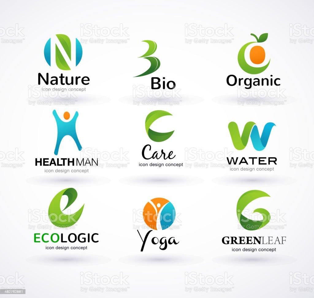 Vector green ecology alphabet royalty-free stock vector art