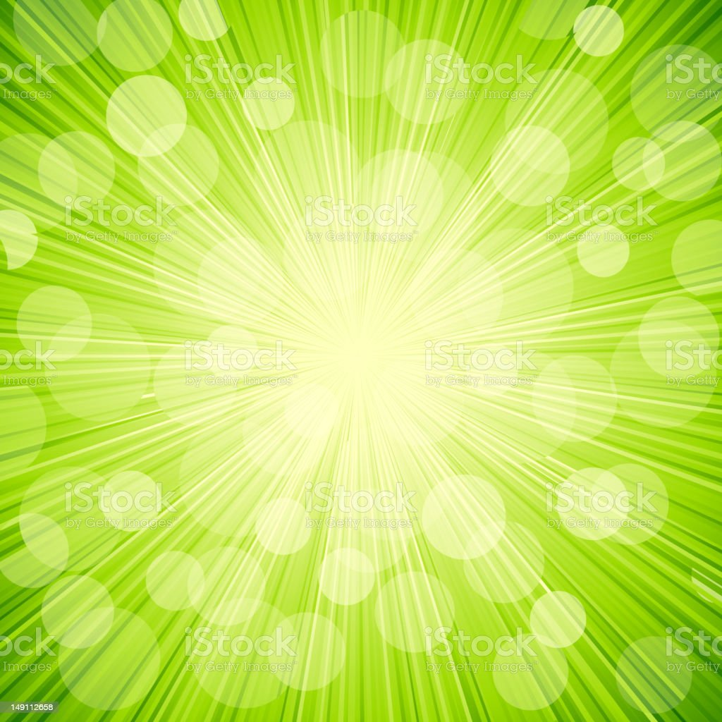 Vector green light  abstract  background. Sun burst vector art illustration