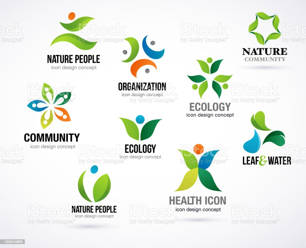 Vector green nature symbols, elements and icons royalty-free stock vector art