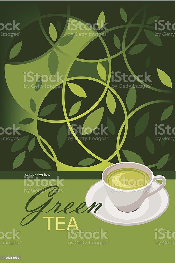 vector green tea poster vector art illustration