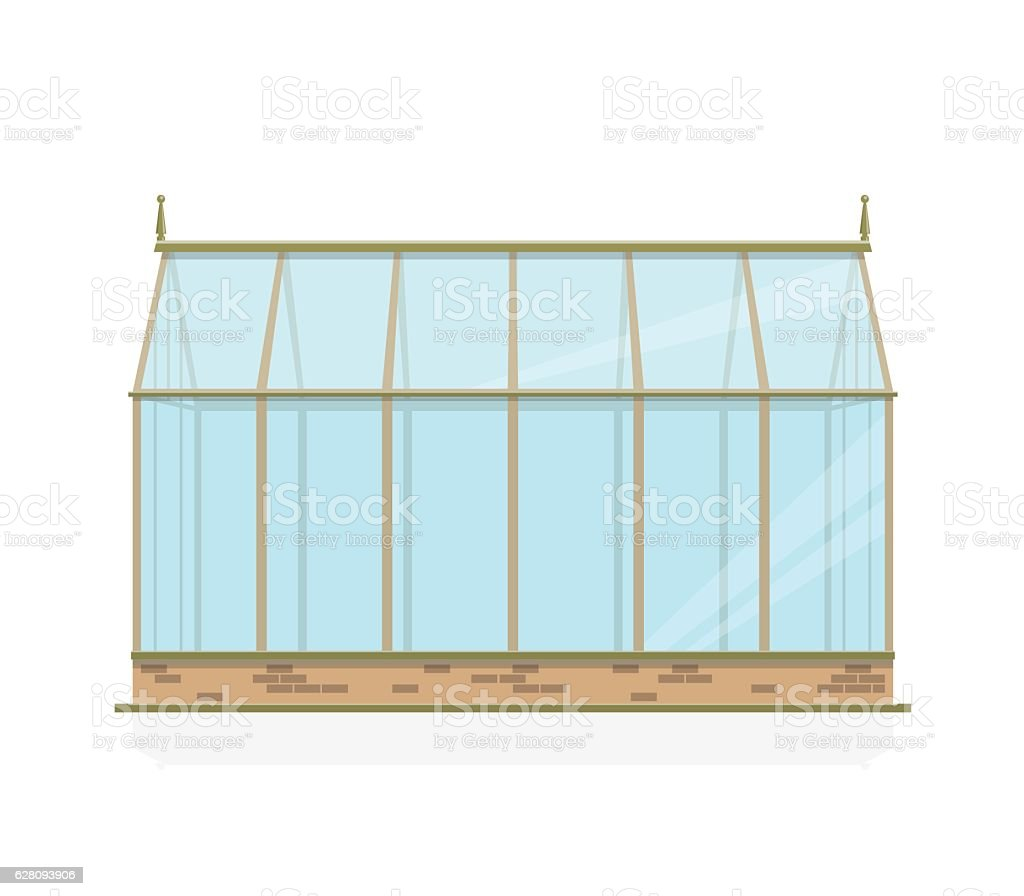 Vector greenhouse with glass, foundations and gable roof, side view. vector art illustration