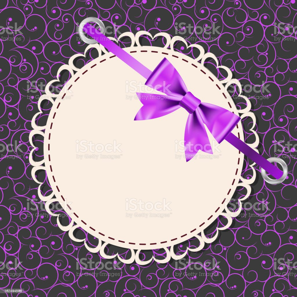 Vector greeting card with frame and bow royalty-free stock vector art
