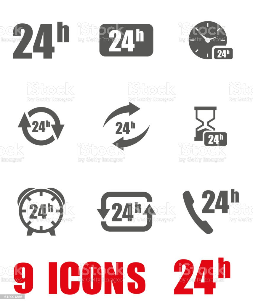 Vector grey 24 hours icon set on white background vector art illustration