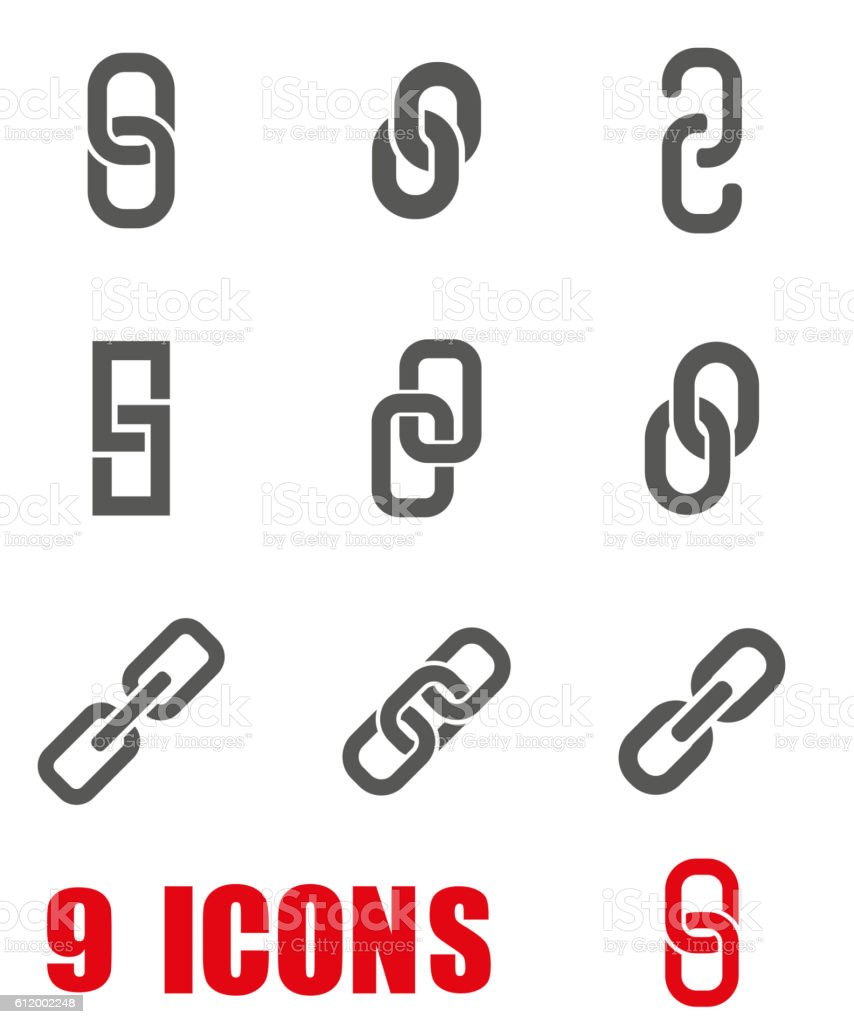 Vector grey Chain or link icon set on white background vector art illustration
