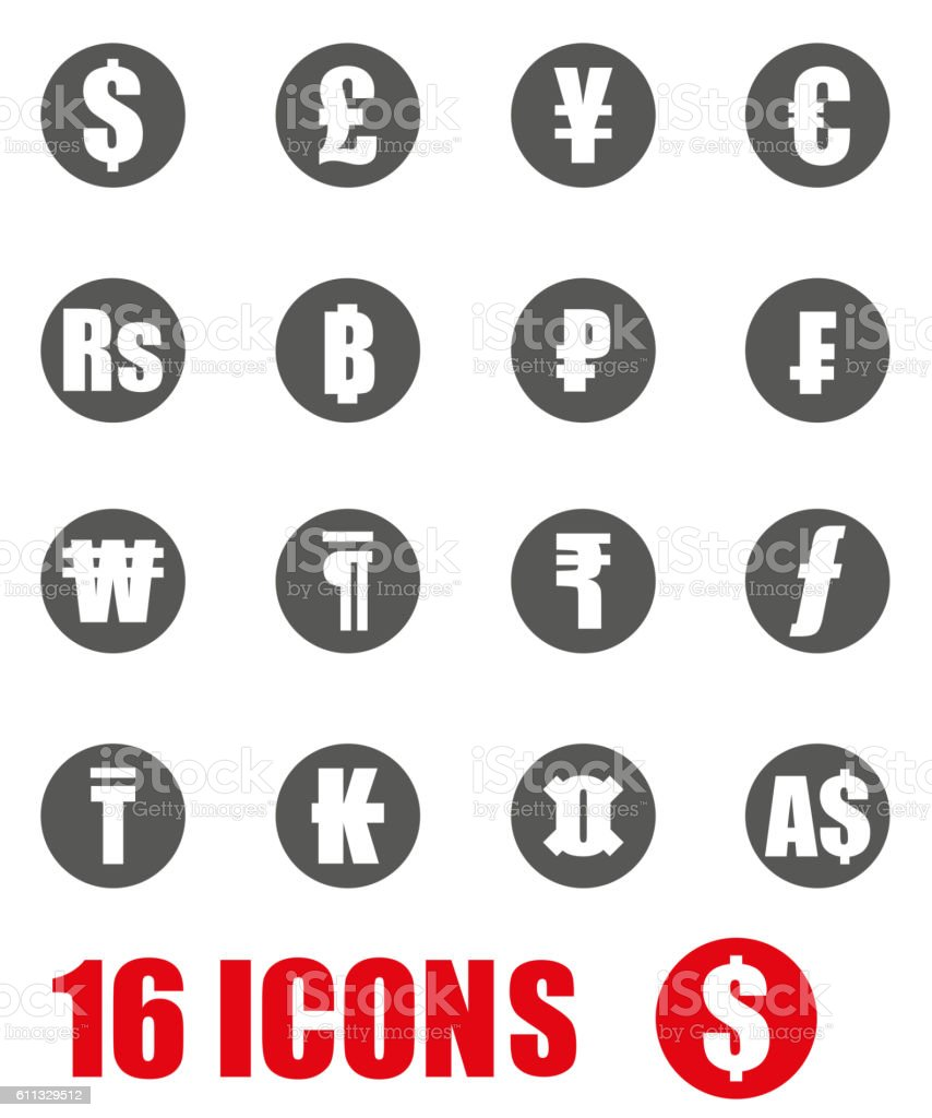 Vector grey currency symbols icon set on white background vector art illustration