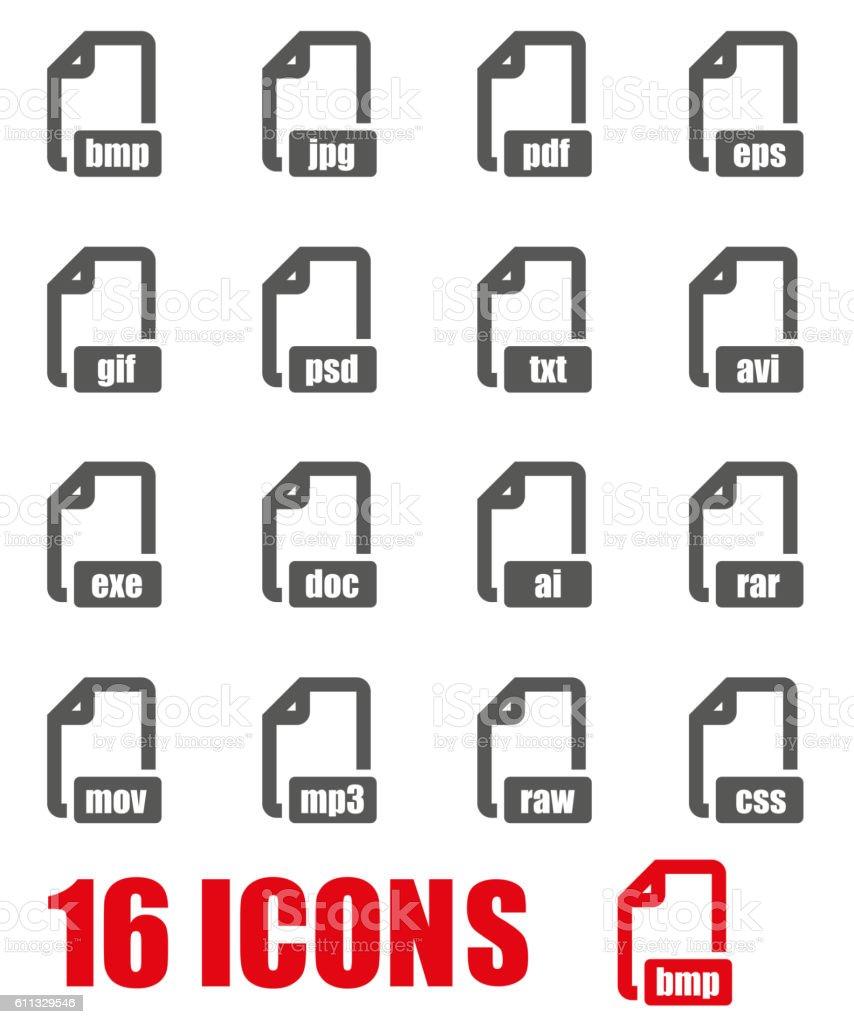 Vector grey file format icon set on white background vector art illustration
