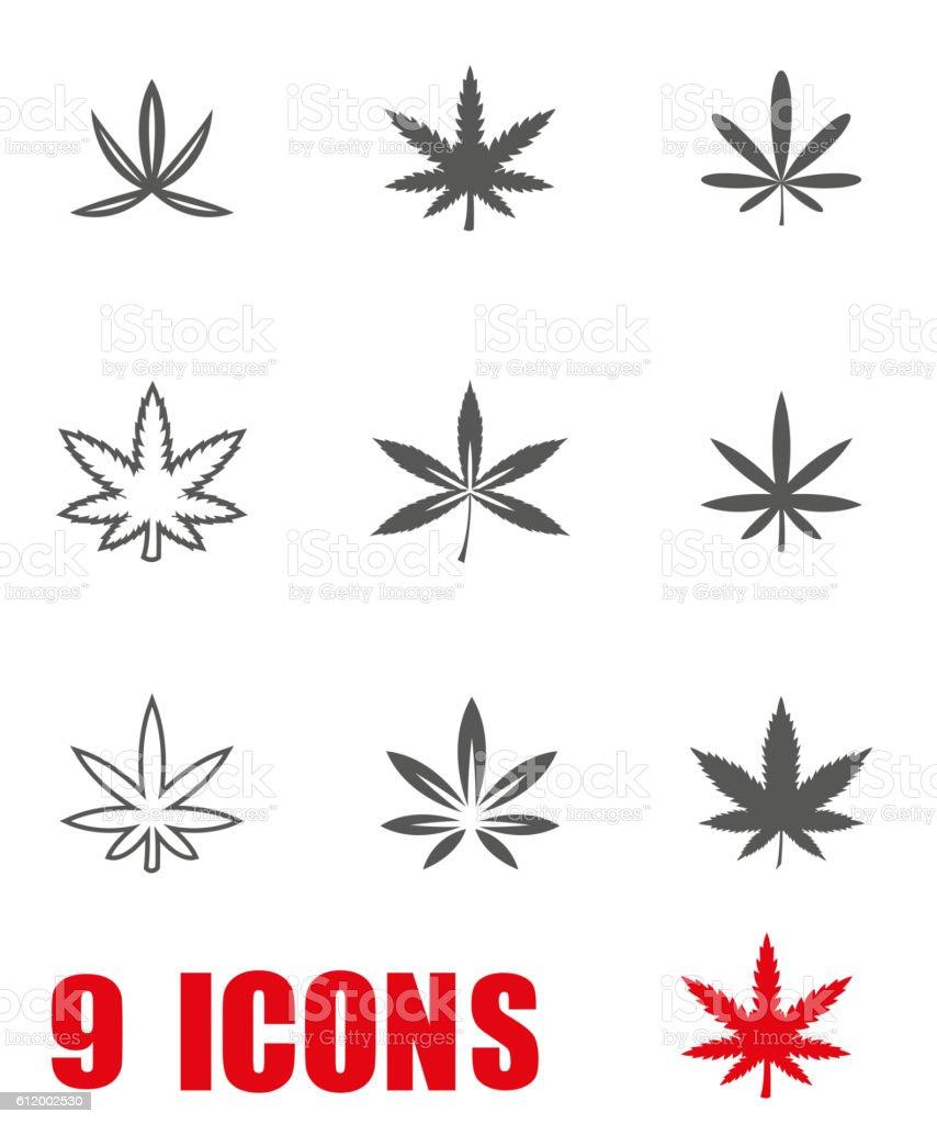 Vector grey marijuana icon set on white background vector art illustration