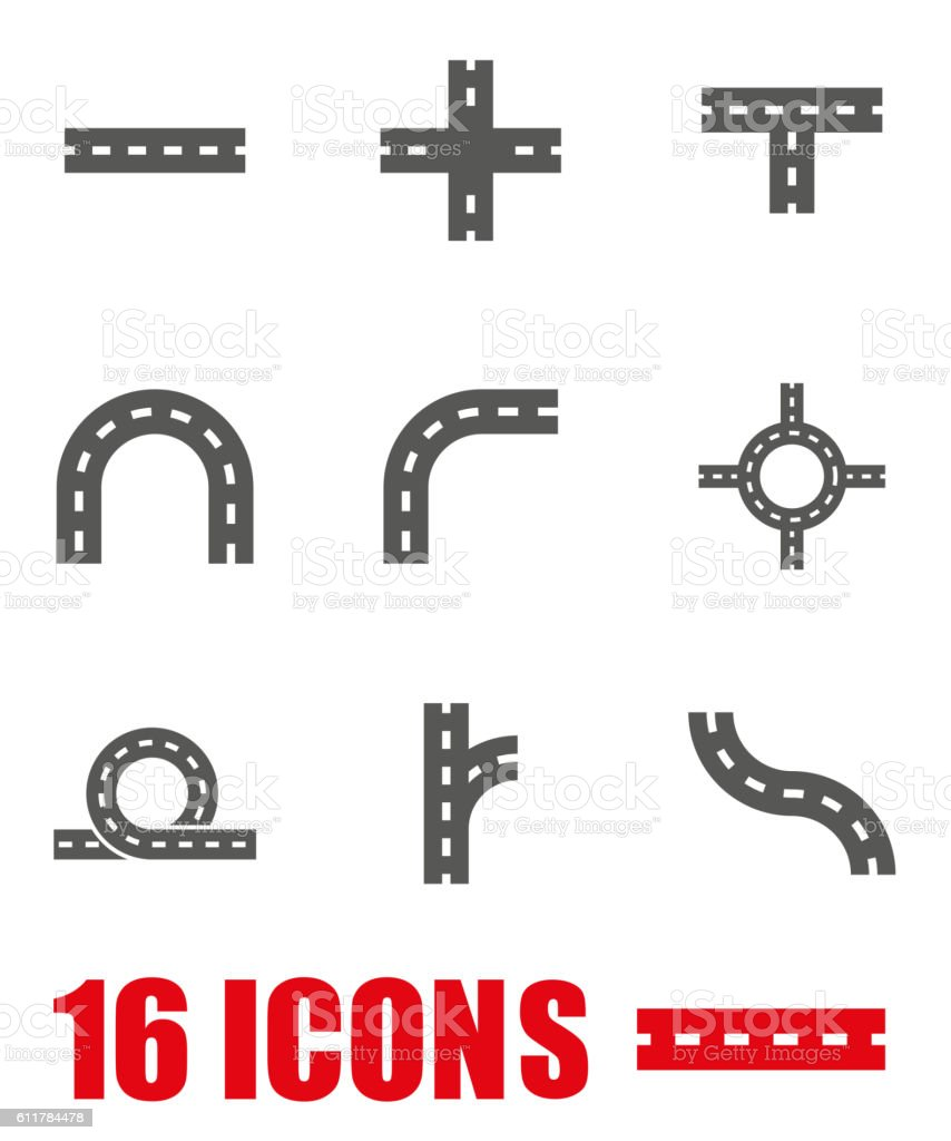 Vector grey road elements icon set on white background vector art illustration