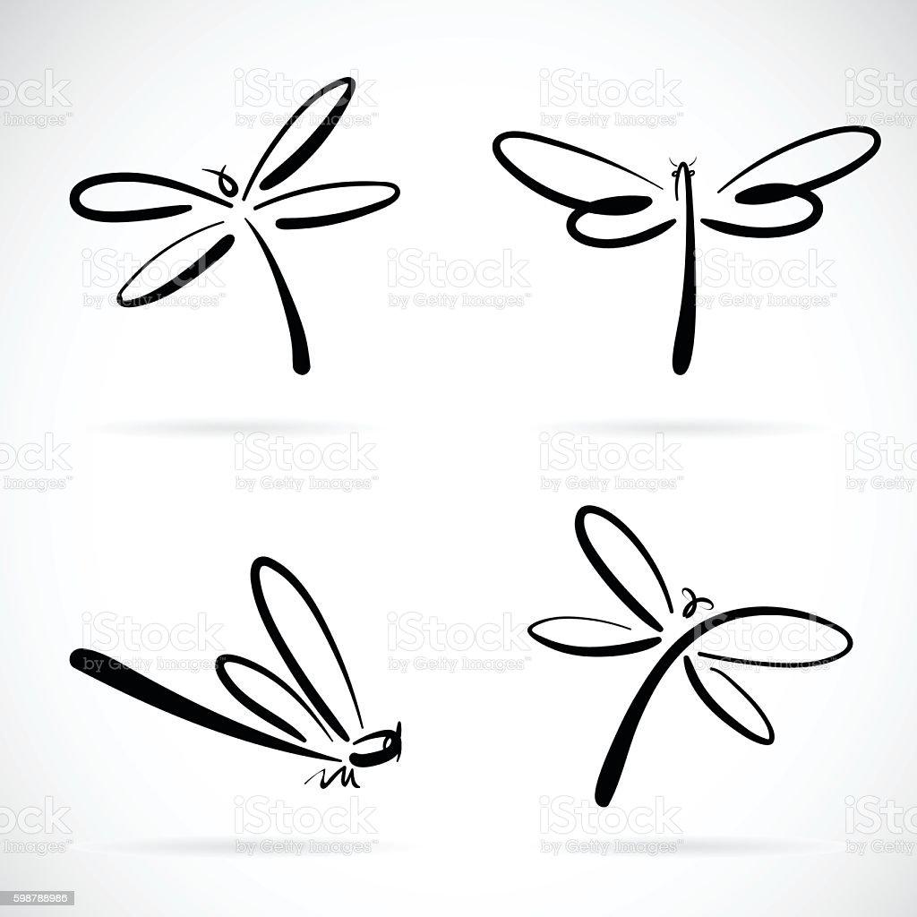 Vector group of dragonfly sketch. vector art illustration