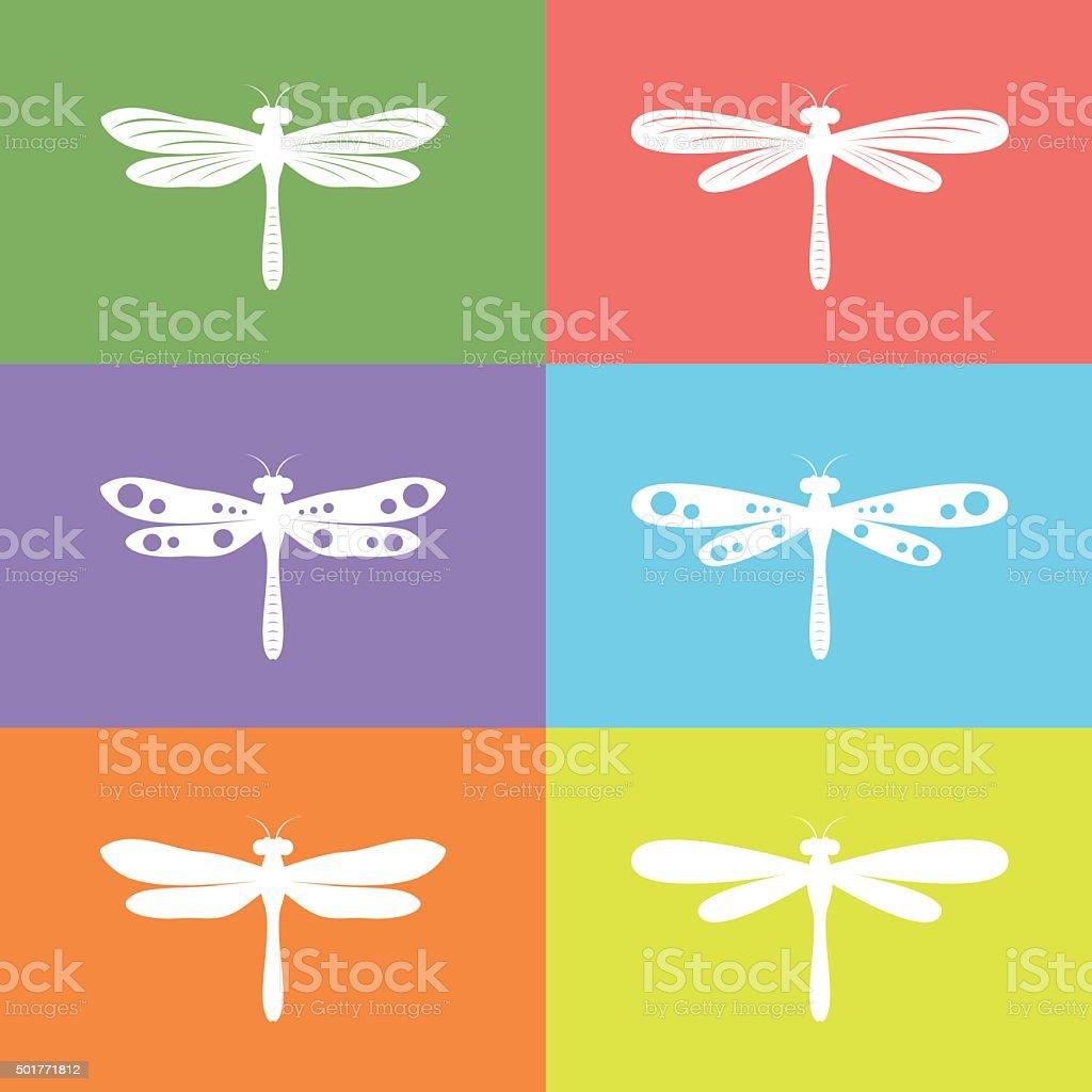 Vector group of dragonfly vector art illustration