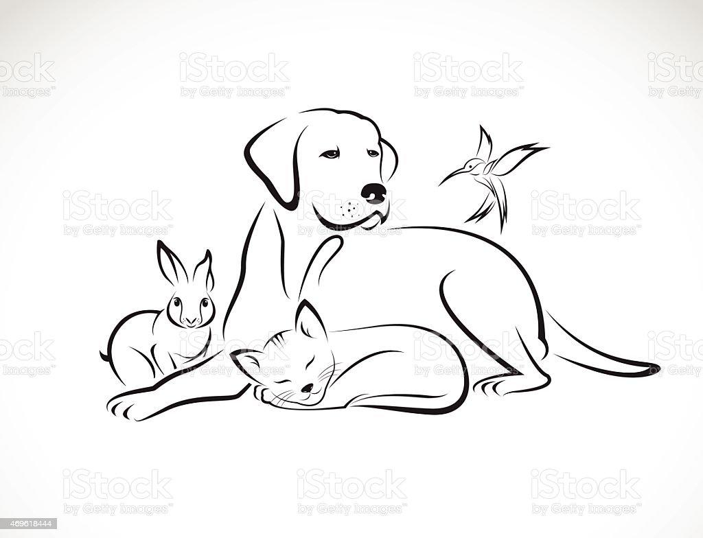 Vector group of pets - Dog, cat, bird, rabbit, vector art illustration
