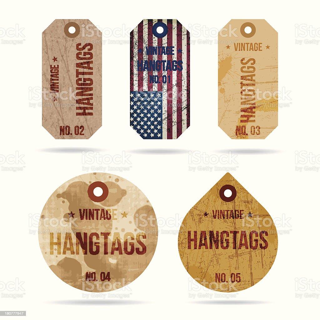 vector grunge and vintage hang tags set royalty-free stock vector art