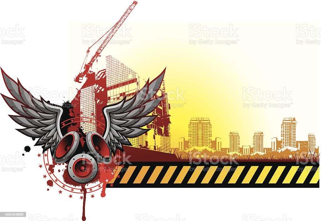 vector grunge background with urban scenes and wings vector art illustration
