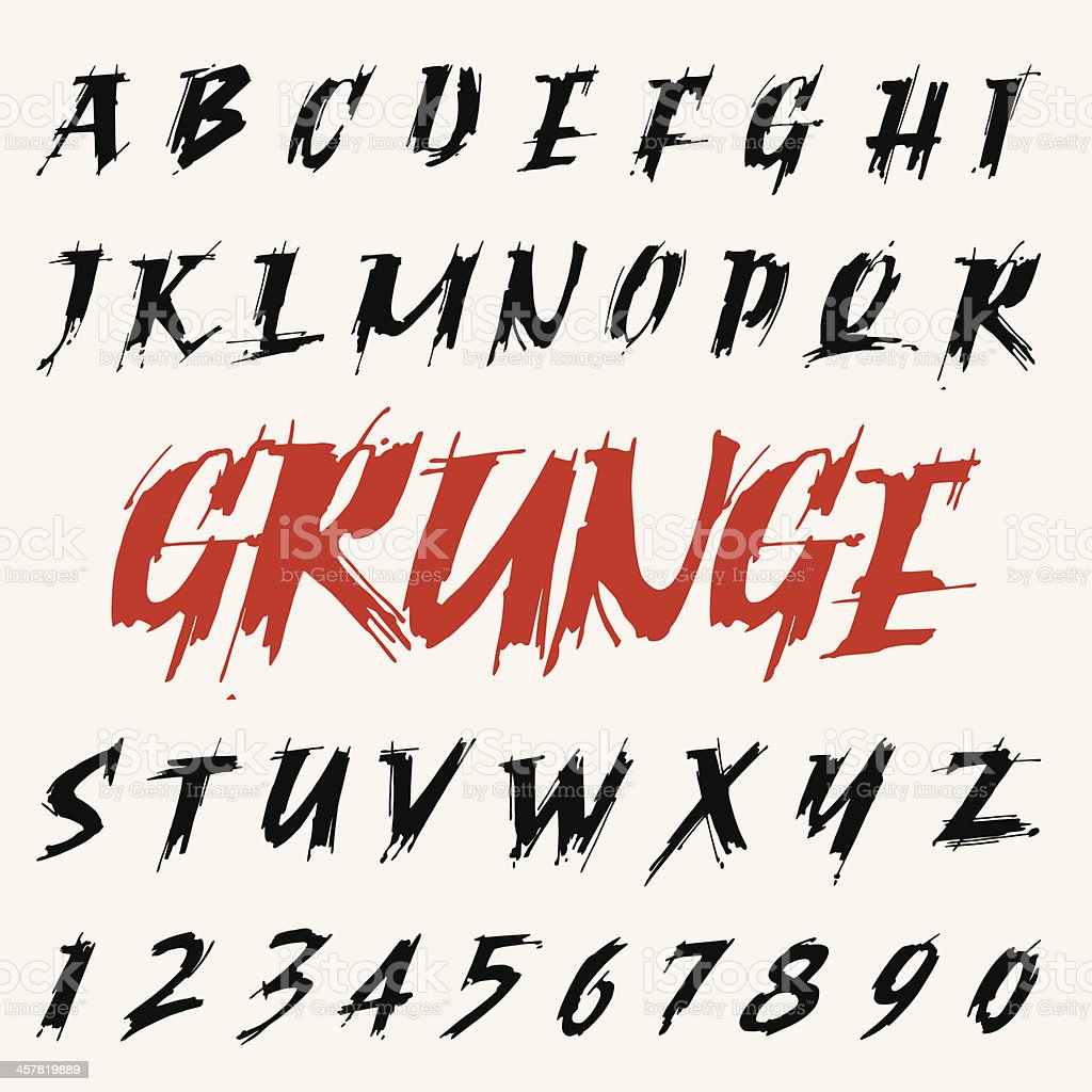 vector grunge font set. capitals alphabet vector art illustration