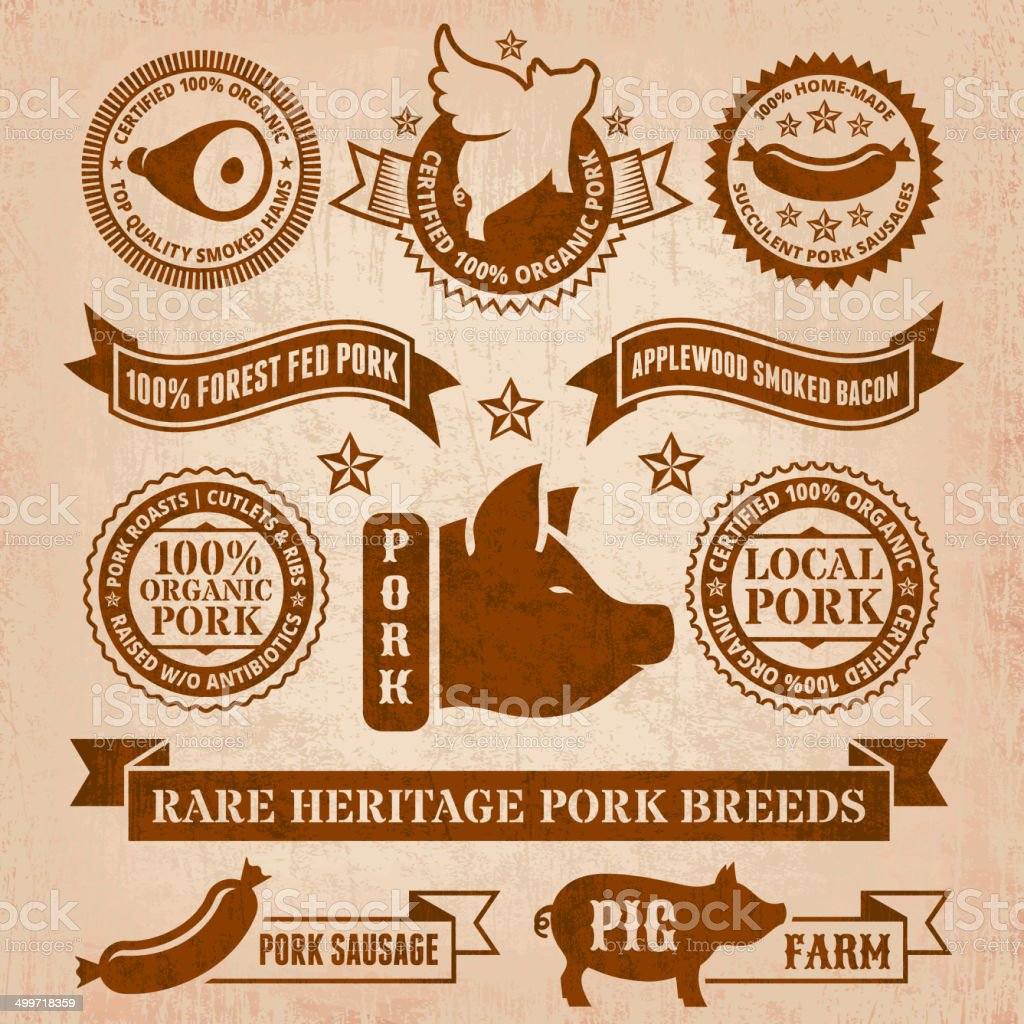 Vector grunge style pork badges and banners vector art illustration