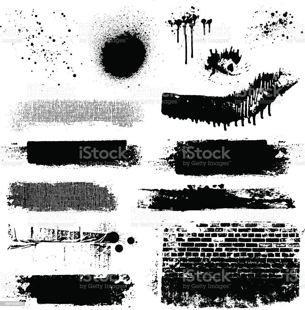 Vector grunge textures and paint splatters vector art illustration