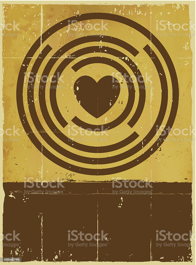 Vector grungy background with circles and a heart with room vector art illustration